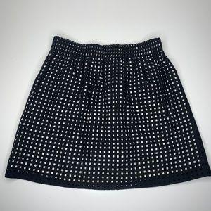 LOFT Tan Black Overlay Perforated Mini Skirt